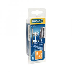 Nituri Rapid High Performance diametru 4.0mm x 18mm, aluminiu, burghiu metal HSS inclus, 50 buc/set 500038615