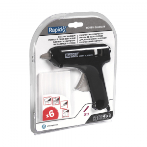 Pistol de lipit Rapid Hobby 12mm, include 6 batoane silicon transparent diametru 12mm, 72W, debit 125 g/h 249280003