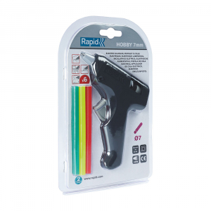 Pistol de lipit Rapid Hobby 7 mm, include 6 batoane silicon color diametru 7mm, 20W, 185°C, debit 100 g/h, 50013712