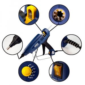 Pistol de lipit Rapid EG380 PRO Industrial, batoane lipici 12 mm, putere 400W, temperatura reglabila 130°C - 230°C, debit lipici 2200 g/h, duze interschimbabile, actionare tragaci cu 4 degete, 50003281