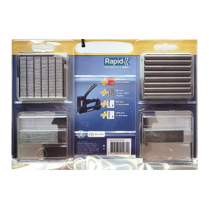 Set Capsator tacker Rapid Multitacker MS4.1, reglare forta capsare, nas lung, include capse 53/6-12 mm, capse cabluri 7/12-14, cuie 8/15, pini 9/15, 2254296016