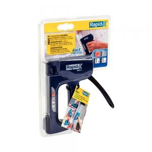 Capsator tacker Rapid Multitacker MS4.1, reglare forta capsare, nas lung, capse 53/6-12 mm, capse cabluri 7/12-14, cuie 8/15, pini 9/15, 3 ani garantie, 500006511