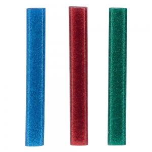 Rapid Oval Low temp Glue Stick Coloured, 9mmx94mm, color adesiv glitter red, green and blue, 125g, 401084626