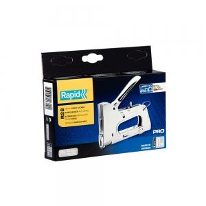 "Capsator tacker cabluri Rapid PRO 28E, capse semirotunde ""U"" 28/9-11 mm, reglare forta capsare in 3 trepte, diametru cablu 4.5 mm, joasa tensiune, 5 ani garantie, fabricat in Suedia 2051171014"