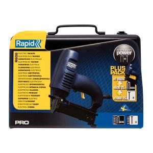 Capsator electric Rapid PRO 606 kit cu servieta metalica, pentru capse si cuie, forta impact ajustabila, magazie duala, capse 606/12-25mm, cuie 8/15-25mm, cablu alimentare 3.5 metri 106430154