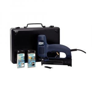 Capsator electric Rapid PRO 606 kit cu servieta metalica, pentru capse si cuie, forta impact ajustabila, magazie duala, capse 606/12-25mm, cuie 8/15-25mm, cablu alimentare 3.5 metri 106430150