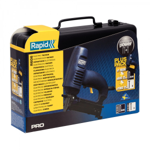 Capsator electric Rapid PRO 606 kit cu servieta metalica, pentru capse si cuie, forta impact ajustabila, magazie duala, capse 606/12-25mm, cuie 8/15-25mm, cablu alimentare 3.5 metri 106430153