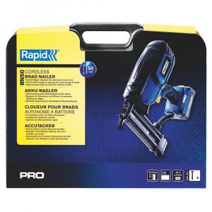 Masina batut cuie electrica Rapid PRO BN50 cu acumulatori Li-Ion,Kit cu servieta,reglare putere de actionare,indicator LED nivel baterie,ochelari protectie inclusi,cuie Rapid 8 (25-55mm),500083616