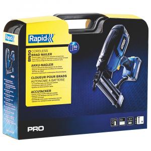 Masina batut cuie electrica Rapid PRO BN50 cu acumulatori Li-Ion,Kit cu servieta,reglare putere de actionare,indicator LED nivel baterie,ochelari protectie inclusi,cuie Rapid 8 (25-55mm),500083615