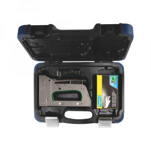 Capsator tacker Rapid PRO R34E kit, ajustare forta capsare in 3 trepte, capse 140/6-14 mm, include capse 140/8 (2000buc/cutie) si capse 140/10 (2000buc/cutie), 5 ani garantie, fabricat in Suedia 500131