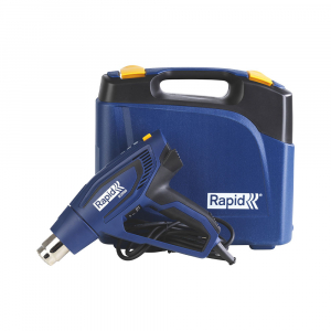 Rapid R2000 Hot Air Gun kit, include rigid plastic blue case, 2000 W, air flow 450 l/min, 3 airflow levels, temperature settings 60°C/550°C, overheating protection, 2 year guarantee, 50013521