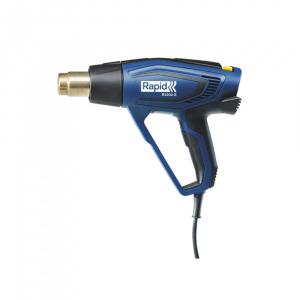 Pistol cu aer cald Rapid R2200-E, incalzitor ceramic, reglare electronica a puterii, putere 2200 W, debit 500 l/min, reglare debit aer in 3 trepte, temperatura 60°C/650°C, 2 ani garantie, 50013430