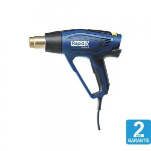 Pistol cu aer cald Rapid R2200-E, incalzitor ceramic, reglare electronica a puterii, putere 2200 W, debit 500 l/min, reglare debit aer in 3 trepte, temperatura 60°C/650°C, 2 ani garantie, 50013431