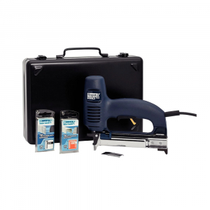 Capsator electric Rapid R553 kit cu servieta metalica pentru tapiterie, reglare forta impact, sistem siguranta tragaci, capse 53/8-20mm, cuie 8/15-20 mm 106429120