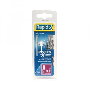 Nituri Rapid otel inoxidabil diametru 3.2mm x 8mm, burghiu metal HSS inclus, 50buc/set, 50003930