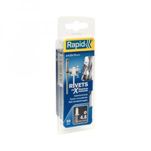 Nituri Rapid otel inoxidabil diametru 4.8mm x 10mm, burghiu metal HSS inclus, 50buc/set, 500039611