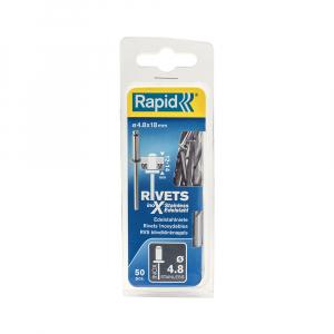 Nituri Rapid otel inoxidabil diametru 4.8mm x 18mm, burghiu metal HSS inclus, 50buc/set, 50003970