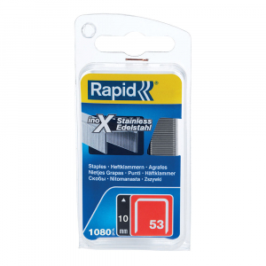 Capse Rapid 53/10, sarma subtire, otel inoxidabil, decoratiuni, 1080/blister 4010951119