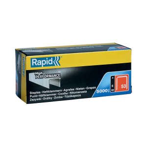 Capse Rapid 53/6, sarma subtire, galvanizate, decoratiuni, 5000/cutie carton 118562500
