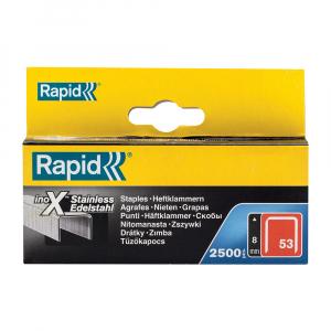 Capse Rapid 53/8 otel inoxidabil, sarma subtire, decoratiuni, 2500/cutie carton 2380800019