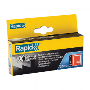 Capse Rapid 53/8 otel inoxidabil, sarma subtire, decoratiuni, 2500/cutie carton 238080000