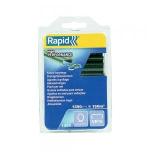 Rapid VR16/2-8mm Fence HOG rings, green PET coating, 1390 pcs/blister0