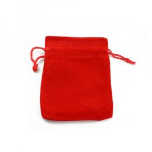 Saculet textil pentru cadouri din catifea cu snur, rosu, 10 x 11 cm