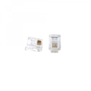 Mufa modulara telefon RJ11 sertizare 6 pini 4 contacte pentru crimpare, transparenta, tata, PVC, 100buc/punga0