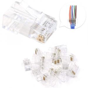 Mufa modulara RJ45 sertizare 8 pini 8 contacte Pass-through CAT5, contacte aurite, pentru crimpare, PVC transparent, tip tata, 100buc/punga2