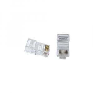 Mufa modulara RJ45 sertizare 8 pini 8 contacte Pass-through CAT6, contacte aurite, pentru crimpare, PVC transparent, tip tata, 100 buc/set0
