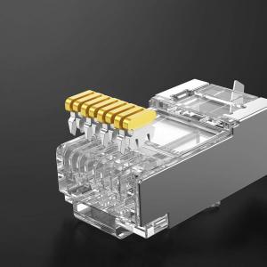 Mufa modulara ecranata RJ45 8P8C CAT5E, 8 pini 8 contacte, pentru crimpare, PVC transparent, tata, 100buc/punga1