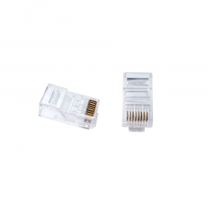 Mufa modulara standard RJ45 8P8C CAT6E, 8 pini 8 contacte, pentru crimpare, PVC transparent, tata, 100buc/punga0