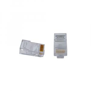 Mufa modulara standard RJ45 8P8C CAT5, 8 pini 8 contacte, pentru crimpare, PVC transparent, tata, 100buc/punga0