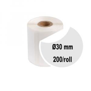 Etichete termice universale rotunde Ø30 mm, plastic alb, permanente, 1 rola, 200 etichete/rola, pentru imprimanta M110 si M2000