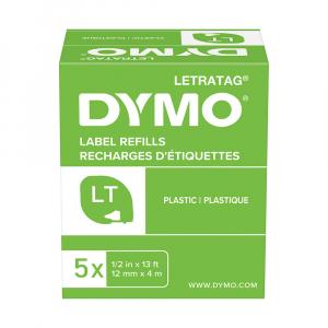 Set DYMO original Letratag plastic 4 plus 1, plastic autocolant alb, 12mm x 4m, alb 5 bucati/set DY91221 9122114