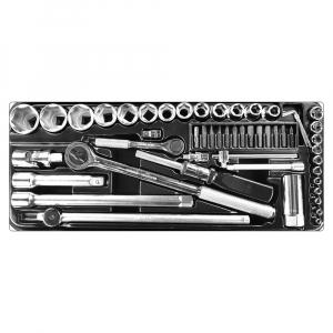 Trusa chei tubulare cu clicket Engineer TWS-05, metric, cutie metalica, chei tubulare 4–32, chei hexagonale, biti si accesorii, 52 piese, fabricata in Japonia1