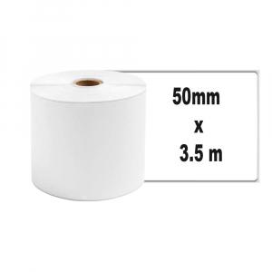 Etichete termice ecusoane/carduri mari 50 mm x 3.5 m, modul continuu neadezive, plastic alb, 1 rola, pentru imprimanta AYMO M2000