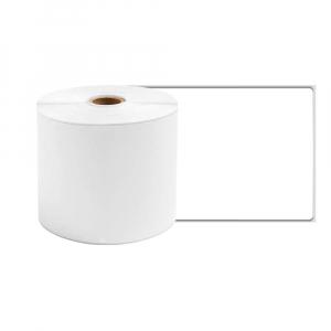 Etichete termice ecusoane/carduri mari 53 mm x 8 m, modul continuu neadezive, plastic alb, 1 rola, pentru imprimanta AYMO M2004
