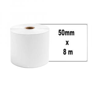 Etichete termice ecusoane/carduri mari 53 mm x 8 m, modul continuu neadezive, plastic alb, 1 rola, pentru imprimanta AYMO M2001