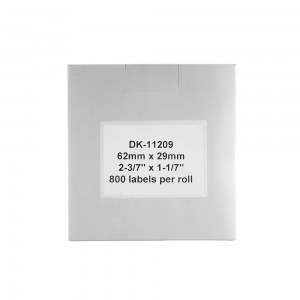Thermal labels compatible stickers shipping, Brother DK-11209, white paper, permanent, 29mmx62mm, 800 labels/roll, plastic holder included DK11209-C3