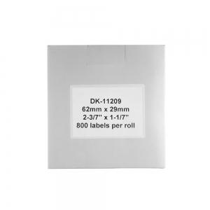 Etichete termice autocolante transport, compatibile, Brother DK-11209, hartie alba, permanente, 29mmx62mm, 800 etichete/rola, suport din plastic inclus. 3 role / set4