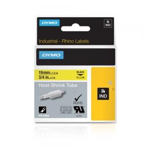 Etichete tub termocontractibil, DYMO ID1, 19mm x 1.5m, negru/galben, 18058, S07183405