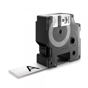 Etichete tub termocontractibil, DYMO ID1, 24mm x 1.5m, negru/alb, 18054431
