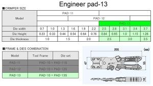 Cleste sertizare multifunctional ultra-precis ENGINNER PAD-13, cap sertizare interschimbabil, 205 mm, fabricat in Japonia8