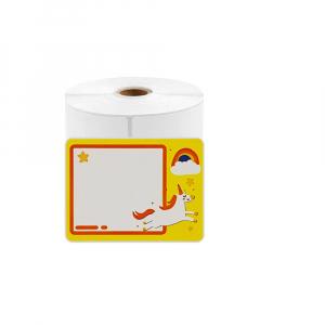 Etichete termice scolare 40 x 30mm UNICORN, poliester alb, imprimate cu model UNICORN, adeviz permanent, 1 rola, 230 etichete/rola, pentru imprimantele M110 si M2000