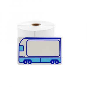 Etichete termice scolare mari 50 x 80mm BUS, poliester alb, imprimate cu model Autobuz, adeviz permanent, 1 rola, 100 etichete/rola, WP5080-100A pentru imprimantele M110 si M2000