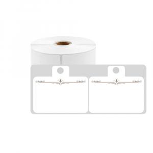 Etichete haine universale fata dubla cu ureche perforata exterioara 50 x 19mm model aripi paun, plastic alb, permanente, 1 rola, 250 etichete/rola, pentru imprimanta M110 si M2000
