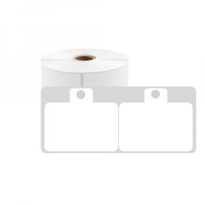 Etichete haine universale fata dubla cu ureche perforata exterioara 50 x 19mm, plastic alb, permanente, 1 rola, 250 etichete/rola, pentru imprimanta M110 si M2000