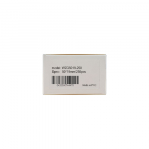 Etichete haine universale fata dubla cu ureche perforata exterioara 50 x 19mm, plastic alb, permanente, 1 rola, 250 etichete/rola, pentru imprimanta M110 si M2006