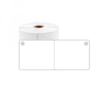 Etichete produs universale fata dubla cu perforatie interioara 50 x 15mm, plastic alb, permanente, 1 rola, 400 etichete/rola, pentru imprimanta M110 si M2000